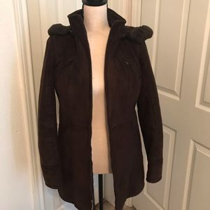 Brown Coat with Hood with Faux Fur
